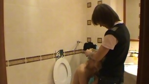 Legal Age Teenager fucking takes place in a pygmy washroom with a hawt blond